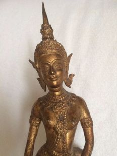 Bronze figure of a heavenly dancer with gold leaf - Thailand - 2nd half of the 20th  century