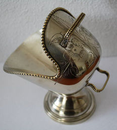 Silver plated sugar bowl in the shape of a coal scuttle, approx. 1950, Netherlands