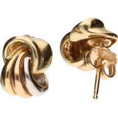 Tricolour gold ear studs in 14 kt