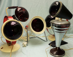 Six vintage lamps-5 Philipps infrared lamps-1 table lamp