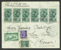 Italy RSI 1944 – Multiple stamps, cancelled on the envelope, express, direct to Genoa
