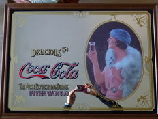 Large Coca Cola mirror - woman with white Fox-one of the famous calendars with ladies which have made the history of Coca Cola