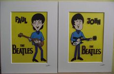 Two hand painted  pieces of cel art: John Lennon, and The Paul McCartney - 1965 Cartoon.