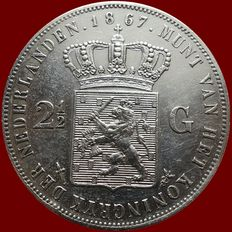 The Netherlands – 2½ guilder coin 1867, Willem III – silver.