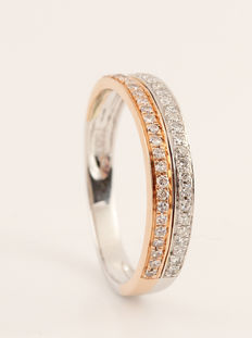 18kt half eternity diamond ring 0.15ct. G-H/ VS2. - size 47