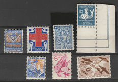 The Netherlands 1927/1934 – Selection of high values – NVPH 207, 211, 223, 228, 239, 251 en 278
