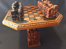 Ancient Mayan chess carved in ebony