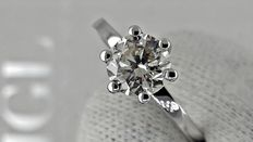 1.00 ct round diamond ring made of 14 kt white gold - size 6 *** No reserve price ***