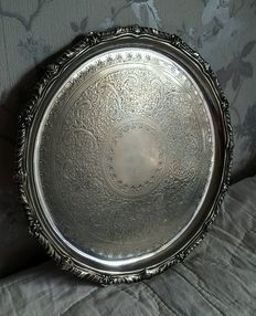 Antique Victorian Tray in English Silver decorated by TR & amp, Co, around 1890