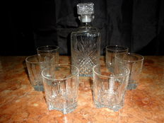 A Cut Glass Whisky Decanter and Six Glasses, Italy