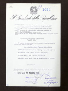 Decree autographed by the President of the Italian Republic, Giuseppe Saragat - 1966