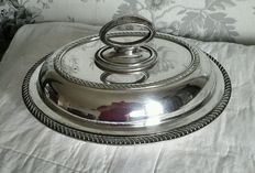 Antique Appetizers/Serving Plate with removable handle, in English Silver Plate, 1900