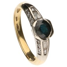 18 kt Yellow gold ring set with sapphire and 12 brilliant cut diamonds 0.12 ct - 17.5 mm
