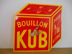 Rare advertising clock for Kub Bouillon from 1980