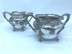 Pair of silver plated Art Nouveau sugar bowls, Barbour Silver Co., approximately 1900