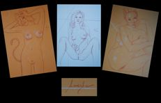 Original work; Lot with three drawings by Lanestre - 2016