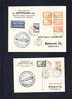 Hungary 1927/1928 - Zeppelin letter and map.