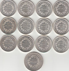 France - 10 & 50 Francs 'Hercule' 1965/1977 (lot of 13 coins) – Silver