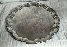 Antique Vintage Tray with decorated rim, in English Silver Plate, by Cavalier.