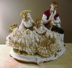 "Capodimonte sculpture ""romantic scene"" in Belle Epoque style"