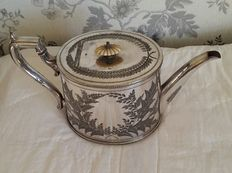 Antique decorated Victorian Teapot in English Silver Plate, by John Round & Sons - around 1890
