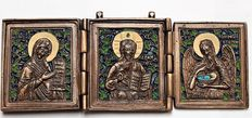 """Russian Orthodox travel icon triptych 'Mother of God - God Almighty - John the Revelator"""""""
