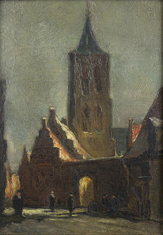 Unknown - Street with church and figures.