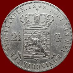The Netherlands - 2½ guilders, 1868, Willem III – silver
