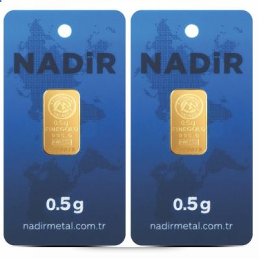 2 pieces Nadir gold bars - each 0.5g fine gold - purity 995/1000 24 carat gold bars - Gold bar Bullion - blistered- certified