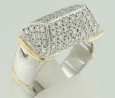 18 kt bi-colour gold ring set with 80 brilliant cut diamonds