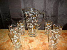 A Vintage Romantic Set of Water Jug and Six Footed Glasses,  1970's