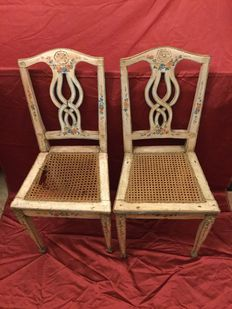 Pair of authentic Venetian chairs, lacquered and painted, Venice, Italy, Louis XVI style