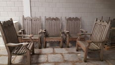 Andrew Crace - five high and wide garden chairs of weathered hardwood - United Kingdom - second half 20th century