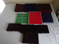 Accessories – 9 coin coffers, case and 1 folder with coin sheets