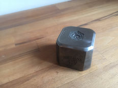 heavy French factory stamp with beautiful geometric pattern - metal