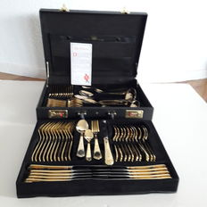 SBS Solingen - 70 piece gold plated luxury flatware for 12 persons - 23/24 carat - hard plated in original box