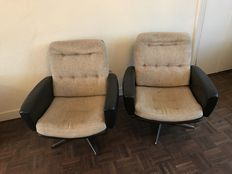 Designer unknown – two armchairs with leather armrests and cloth seats