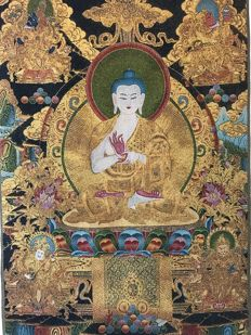 Embroidery representing seated Buddha - Nepal - 21st century