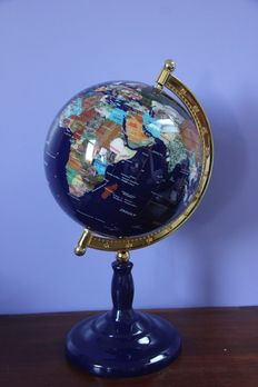 World Globe, made from van Lapis Lazuli and 45 various Precious Stones, inlaid with 14 carat yellow gold - 420 mm