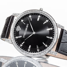 Yves Camani Mayenne Ladies Watch  Zirconia Crystals, Black New