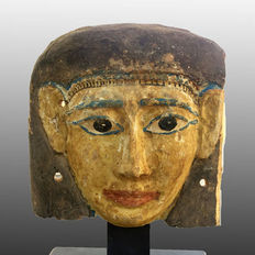 Egyptian wooden Mummy Mask, Polychromed in yellow - 8 3/4  Inches