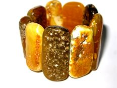 Baltic Amber Bracelet with 9 large  pieces of mixed polished amber 88 grams