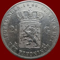 The Netherlands – 2½ guilders coin 1869 Willem III – silver