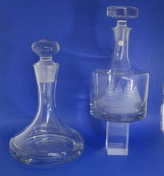 2 Crystal ship decanters