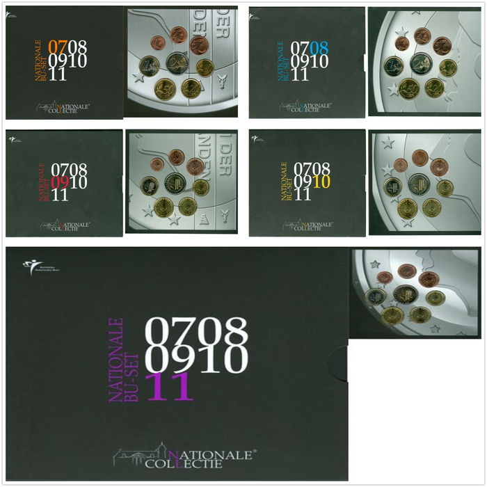 The Netherlands - Year collections 2007/2011 'National Collection' (5 different ones) - complete