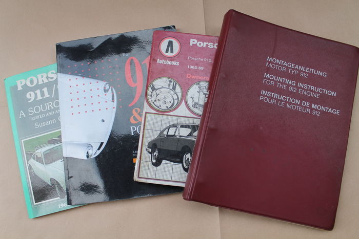 LOT of 4 manuals: Porsche - Original engine factory guide 912 model. Printed/edition sept. 1966 + Owner's manual 1976 + Restorer Guide 911/912 + Porsche 911/912 Source Book