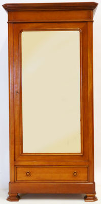 Mahogany linen closet with mirror door, France, ca. 1980