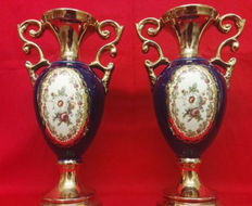 A pair of blue glazed and pure gold enamelled ceramic vases - second half of the 20th C