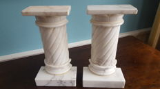 Large white marble column bookends,heavy stone - France