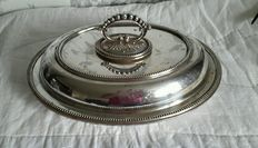 Antique Serving/Entrée platter with lid and removable handle in English Silver Plate, by Fenton Brothers, around 1900